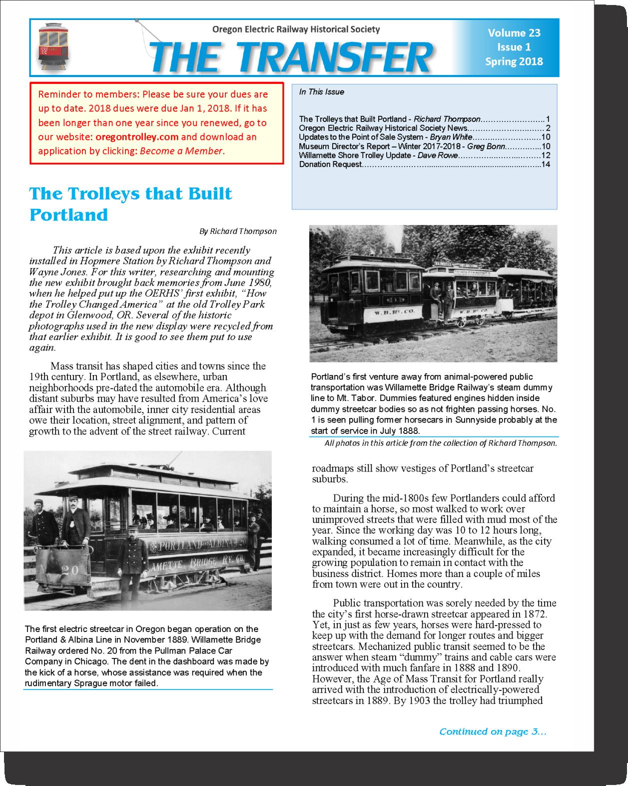 The Transfer - OERHS Newsletter