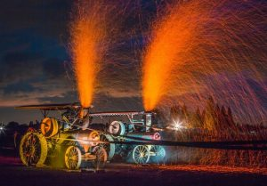 Eclipse Camping at night, see the Sparks Show from Steam Tractors